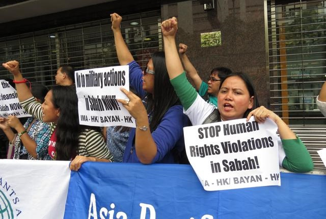 Filipinos in the Philippines do protest once in a while when their countrymen are deported from Sabah, crying that human rights have been violated.