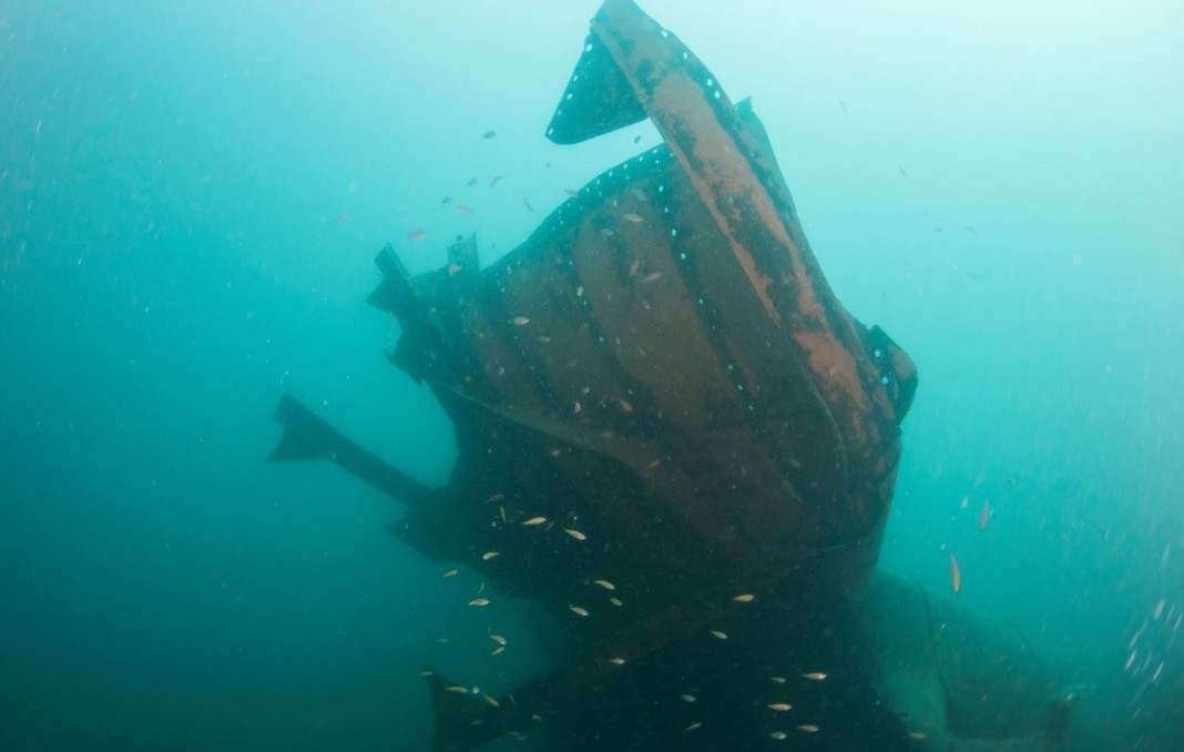 Upside Down Wreck, one of three Japanese second world war ships that lie off the coast of Borneo. Photograph: Supplied