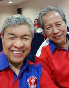 The photograph of Zahid and Anifah taken on Friday night at an Umno function in Kota Kinabalu, which was uploaded on the DPM's twitter account.