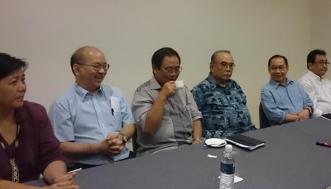 The current opposition big-wigs - Yong Teck Lee, second from left, Bumburing, Datuk Mohd Noor Mansor, a former Berjaya minister, Jeffrey and former Bersih Sabah chief, Jannie Lasimbang, left. Shafie is in touch with this group that calls itself the United Sabah Alliance.