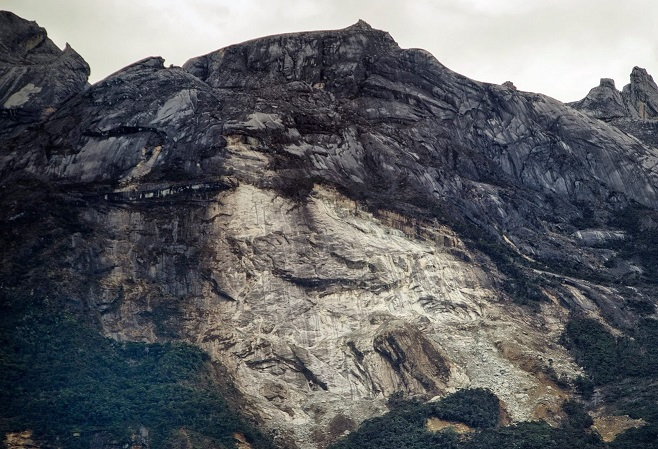 A large avalanche of earth and rock on Mt Kinabalu following the June 2015, killer earthquake in Ranau.
