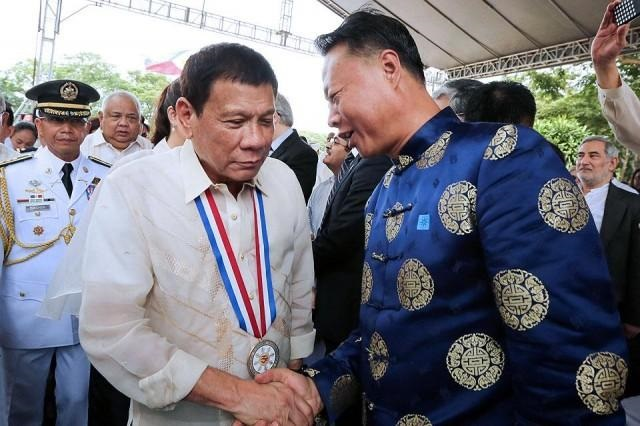 """Ambassador Zhao Jianhua offered effusive praise for Duterte in a speech at an embassy reception, saying China """"firmly supports"""" his anti-drugs campaign that has prompted Western condemnation of alleged extrajudicial killings."""