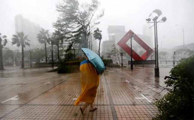 Typhoon Megi is bringing widespread violent winds and torrential rain as it nears the island.