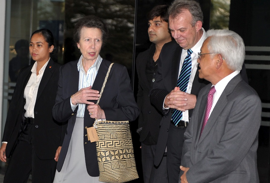The Princess Royal, Princess Anne, second left, is accompanied by SEB chief executive officer Torstein Dale Sjotveit, second right, and SEB chairman Datuk Amar Abdul Hamed Sepawi, right, during her visit to SEB's offices.- Photo courtesy of Bernama