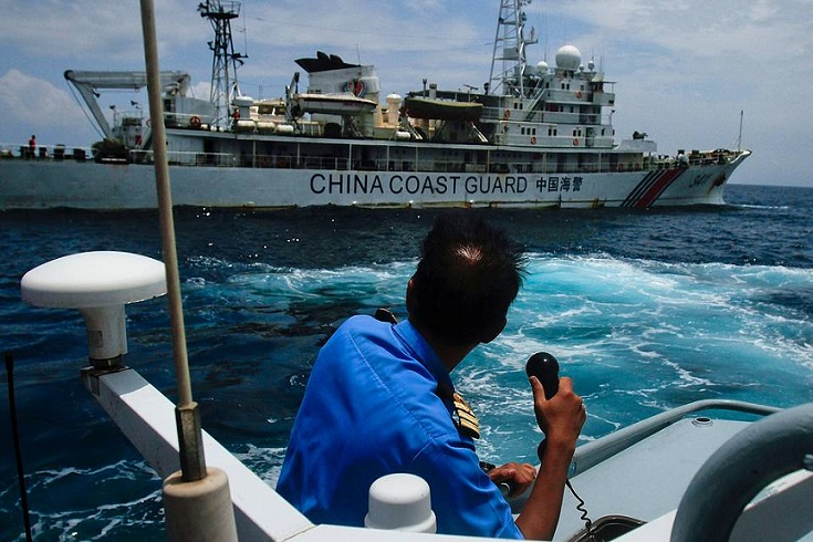 File photo of this China Coast Guard vessel, which has been anchored in Gugusan Beting Patinggi Ali for about two years.