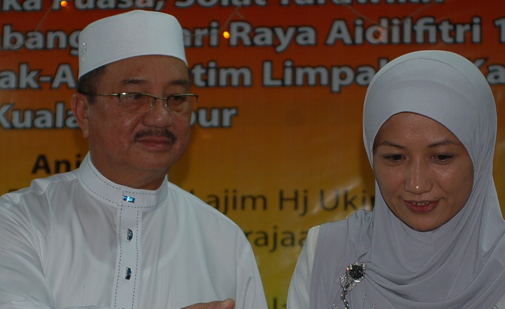 Lajim with his wife, Datin Seri Panglima Hajah Normilah Siong, in this file photo taken during a 'buka puasa' event at his Beaufort residence earlier this year.