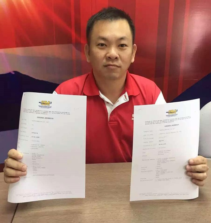 Chan showing copies of Companies Commission of Malaysia records on RBJ