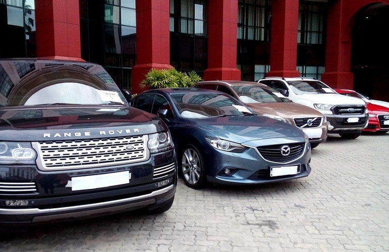 Nine luxury cars seized between them included a Range Rover, Mercedes, Volvo, Lexus, Mazda, Audi, BMW, Fortuner and a Ford Ranger.