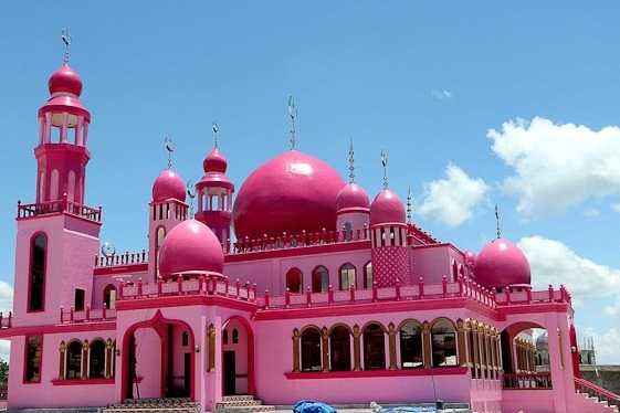 The Masjid Dimaukom or Pink Mosque is a mosque in Saudi Ampatuan, southern Philippines. It was painted pink to symbolize peace and love and was built by Christian workmen and was funded by Dimaukom.