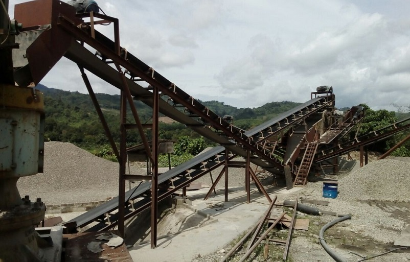 The conveyor belt and pile of stones ready to be delivered were seized at the site near the Liwagu river in Ranau on Sunday.