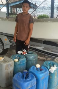 The would-be smuggler who was caught with seven plastic containers filled with petrol to be taken to southern Philippines.