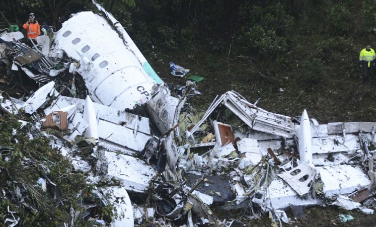All that's left of the LAMIA aircraft crashed in an area called Cerro Gordo about 50km from Medellin, Colombia's second largest city.