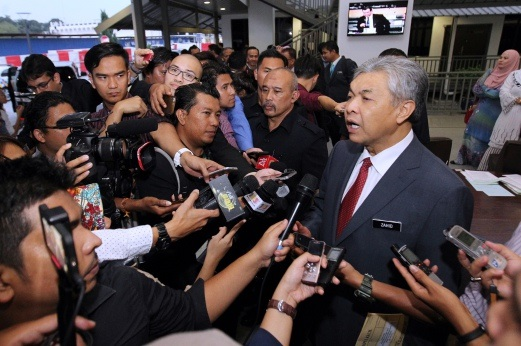 Ahmad Zahid Hamidi after attending a briefing on the RUU355 given by Minister in the Prime Minister's Department Datuk Seri Jamil Khir Baharom at Parliament House Tuesday. - Photo credit NST online