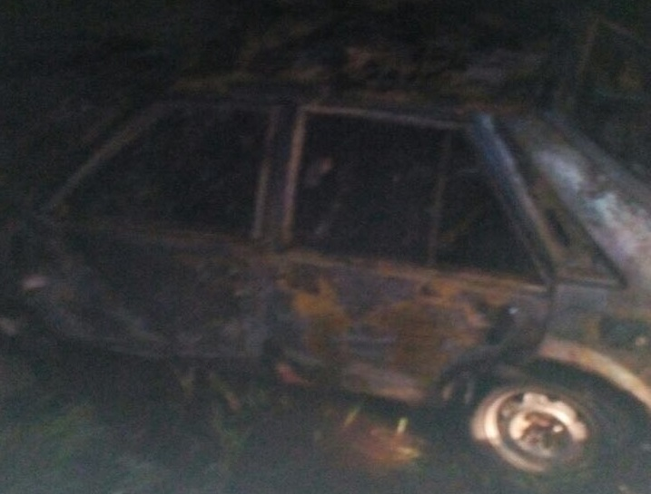 All that is left of the Mazda after it was burnt following a crash Monday night. Two of the occupants were found burnt to death. - Photo credit BOMBA Kuala Penyu