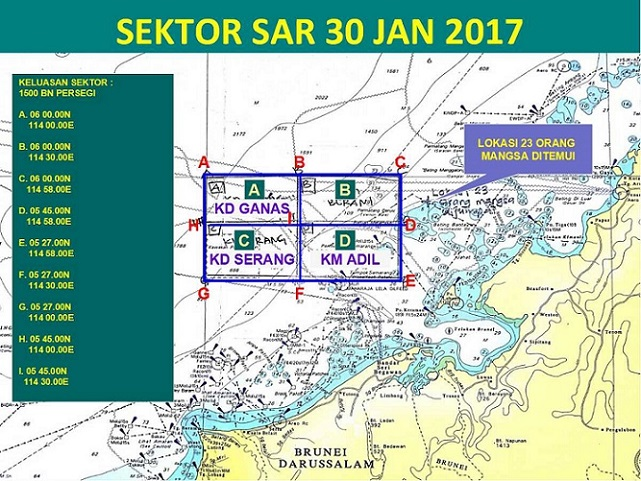 Overall, the search area covered Monday is 2,400 square miles if we take into account the search in the waters of Brunei.